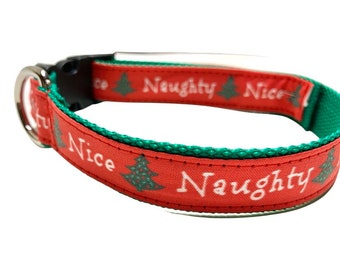 Naughty & Nice Dog Collar, Harness or Leash with Personalized Engraved Metal Buckle Option