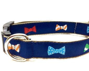 Bow Tie Dog Collar | Personalized Dog Collar | Dog Harness & Leash | Engraved Dog Collar | Step In Harness | Blue Dog Collar