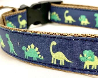 Dinosaur Parade Dog Collar, Harness or Leash with Personalized Engraved Buckle Option