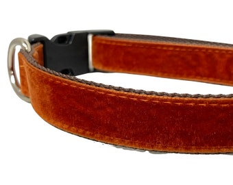 Rust Velvet Dog Collar, Leash or Harness with Personalized Buckle Option