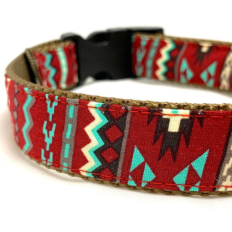 83a883771407f2 Red Southwest Aztec Dog Collar Harness or Leash with