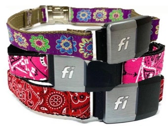 Fi Compatible Dog Collar with Personalized Engraved Buckle Option (you choose the pattern)
