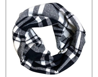 Black & White Plaid Flannel Dog Infinity Scarf with MATCHING Dog Mom Option