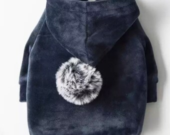 Velour Pom Hoodie Shirt for Dogs
