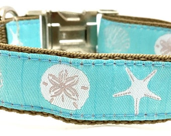 Summer Beach Design Dog Collar, Harness or Leash with Personalized Engraved Buckle Upgrade Option