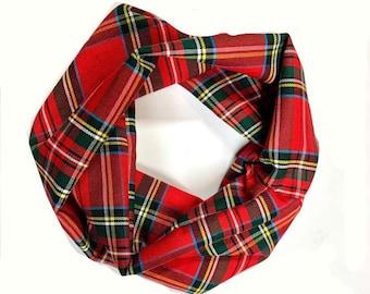 Red Scottish Tartan Plaid Dog Infinity Scarf with MATCHING Dog Mom Option