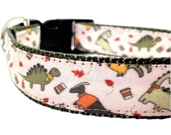 Dinosaurs & Pumpkin Spice Dog Collar, Leash or Harness with Personalized Buckle Option