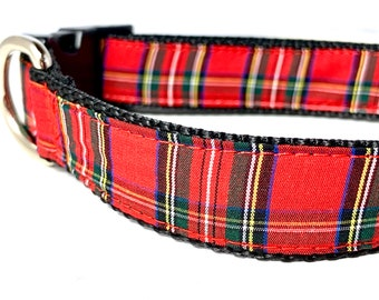 Red Scottish Tartan Plaid Dog Collar | Royal Stewart Tartan | Plaid Dog Collar | Plaid Dog Harness & Leash | Tartan Plaid Harness and Leash