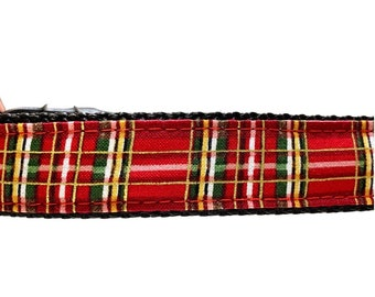 Red & Gold Plaid Dog Collar, Harness or Leash with Personalized Engraved Buckle Option