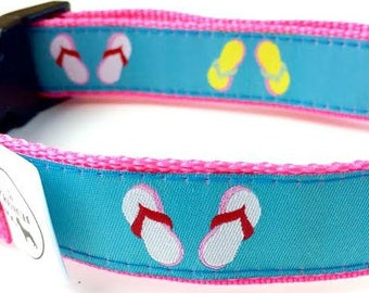 Flip Flop Summer Dog Collar | Personalized Engraved Buckle Option | Beach Dog Collar | Blue Dog Collar