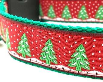 Snowy Pines Red and Green Christmas Dog Collar with Personalized Engraved Buckle Option