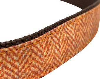 Orange Herringbone Dog Collar, Harness or Leash with Personalized Metal Buckle Option