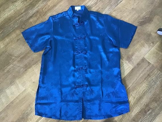 Oriental Blue Silk pyjamas UK M.100% Silk.Beautif… - image 7