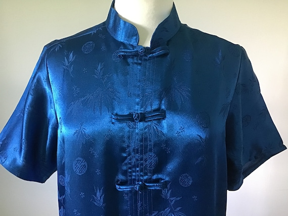 Oriental Blue Silk pyjamas UK M.100% Silk.Beautif… - image 4