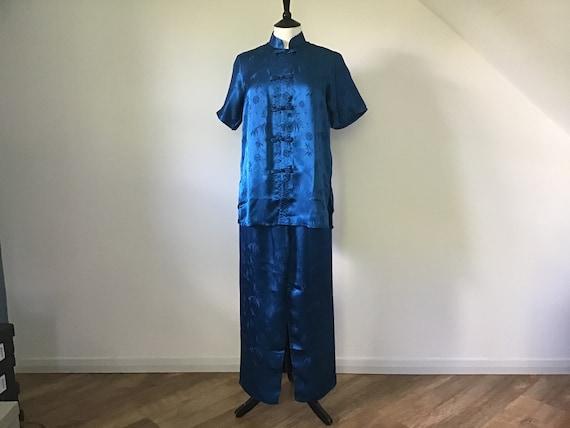 Oriental Blue Silk pyjamas UK M.100% Silk.Beautif… - image 5