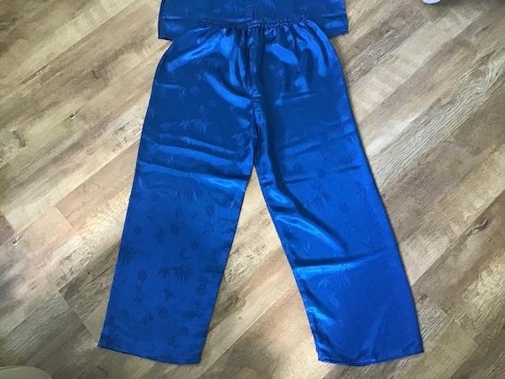 Oriental Blue Silk pyjamas UK M.100% Silk.Beautif… - image 6
