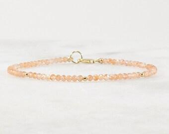 16ad4221ff Sunstone Beaded Bracelet with Peridot, Ultra Delicate Bracelet, Tiny Bead  Bracelet, Minimalist Bracelet, 14k Gold Filled, Stacking Bracelet