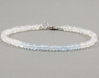 Moonstone and Blue Topaz Dainty Beaded Bracelet - Gemstone Stacking Bracelet - Womens Skinny Bracelet - Handmade - Layering - Minimalist