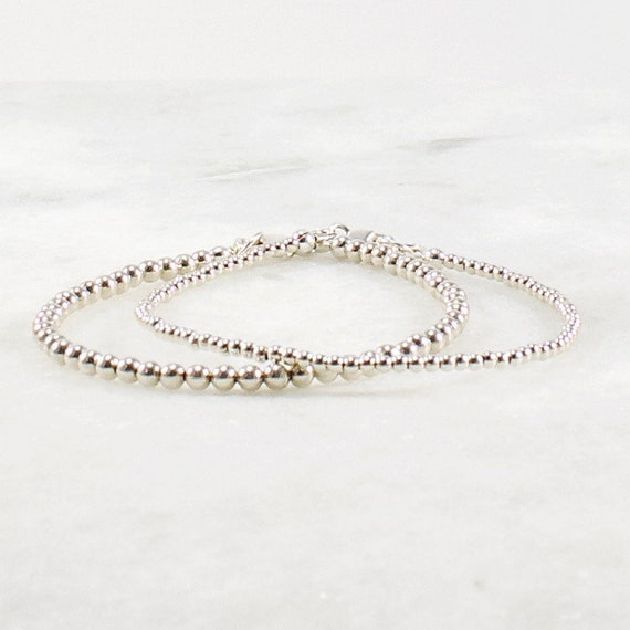 STERLING SILVER BEADED STRETCH BRACELET WITH TINY 2MM BEADS HANDMADE STACKING