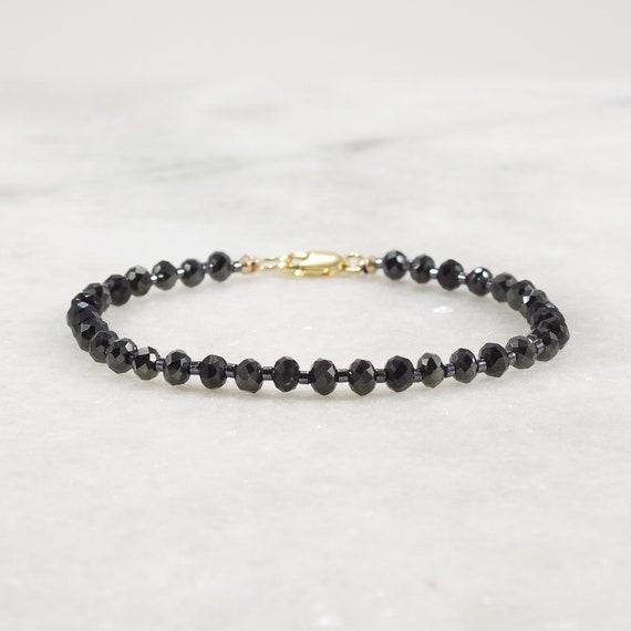 Black and gold filled 14 carat multirang bracelet thin multirang chain bracelet and black stones spinel boho chic gold-plated lurex