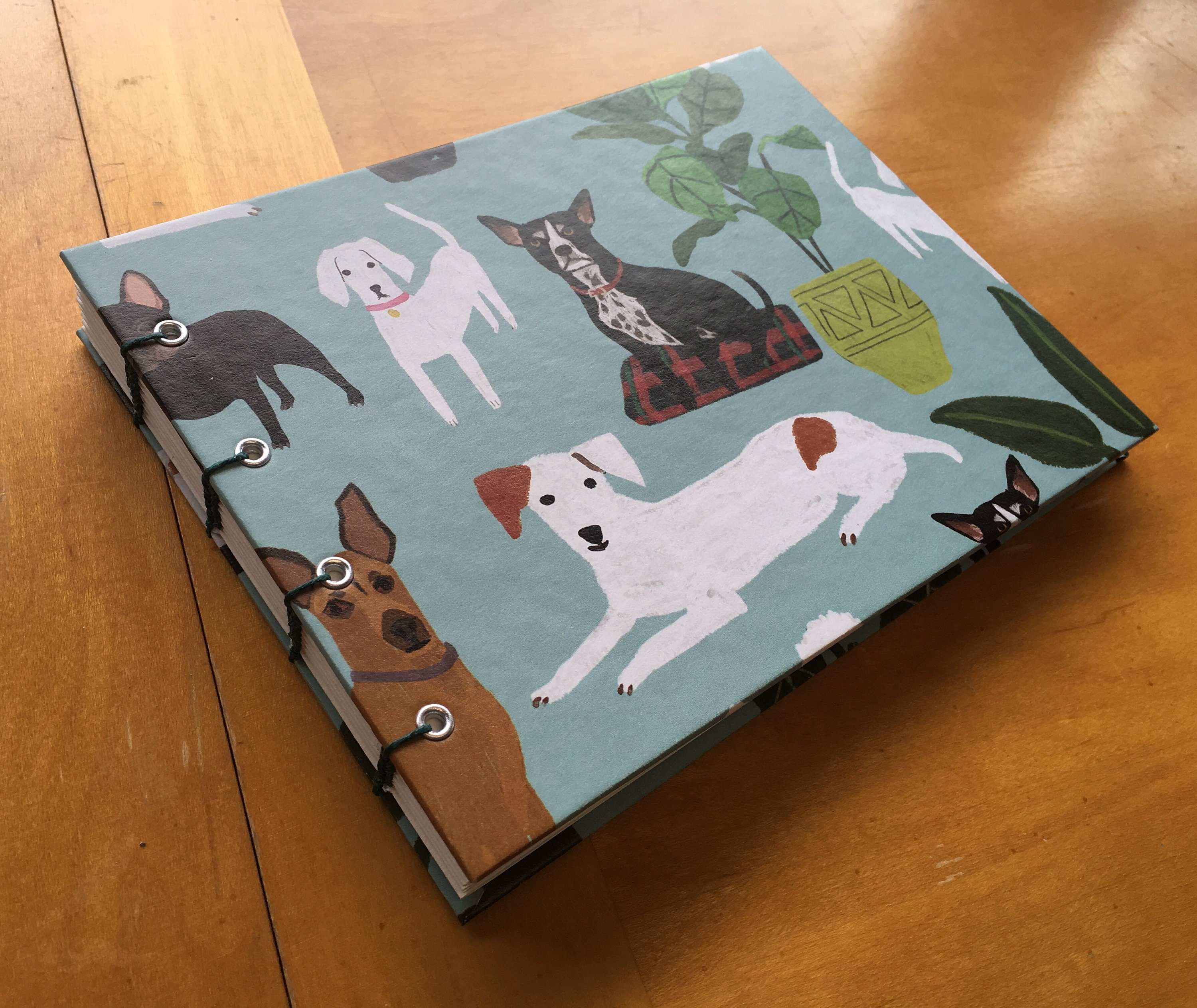 Dogs In The Fancy Living Room Sketchbook Cute Handmade Notebook Animal Print Coptic Stitch Blank Book Cute Gift Under 10