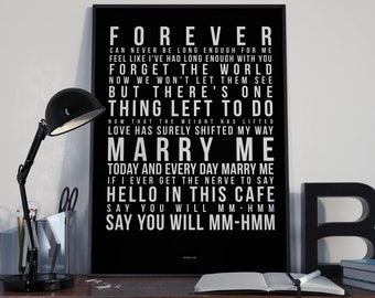 38ce86bb2 Marry Me - Song Lyrics Typography Train Tribute - PRINTED music Art bedroom  office lounge home decor