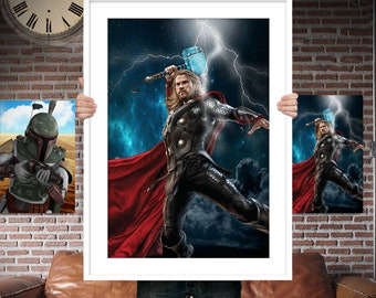 Thor - God Of Thunder - PRINTED  for the Big Boys Geek man cave nerds bedroom office kids nursery superhero marvel comics avengers