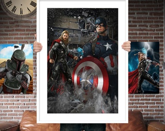 Captain America and Thor PRINTED  for the Big Boys Geek man cave nerds bedroom office kids nursery superhero marvel comics avengers