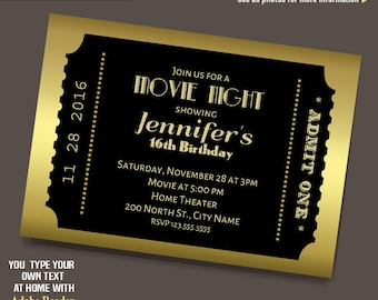 movie ticket invite etsy