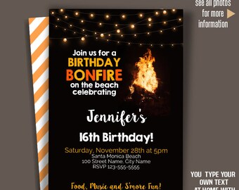 Bonfire Invitation Etsy