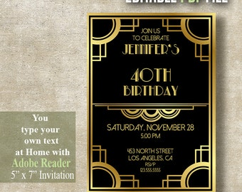 art deco invitations etsy