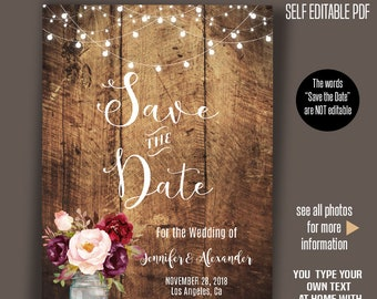 rustic save the date template etsy