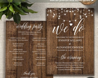Rustic Wedding Program Printable Template Duplex And Fan Style Templates Instant Download Self Editable PDF P3056