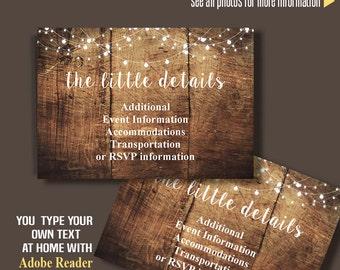 Insert card template, printable rustic wood card, Instant Download, Self Editable PDF file IC102