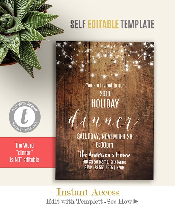 Dinner Invitation Holiday Party Invite Printable Rustic Dinner Party Invite Self Editable Template Instant Download A3109