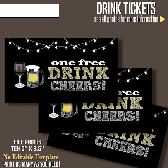 printable free drink tickets drink tickets 3 5 x etsy