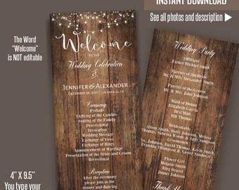 Printable Wedding Program, Wedding Template, Rustic Wedding program, Self Editable PDF template A201