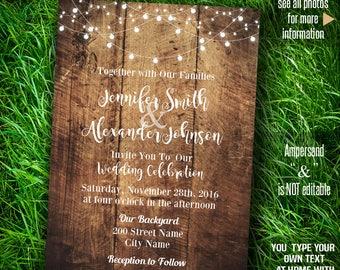 Wedding Invitation, Rustic wood and lights, barn wedding, Instant Download Self editable PDF file A201