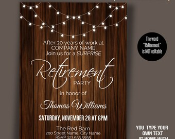 Printable Retirement Invitation, Self editable invitation, You type your own text with Adobe Reader PDF A1015-3079
