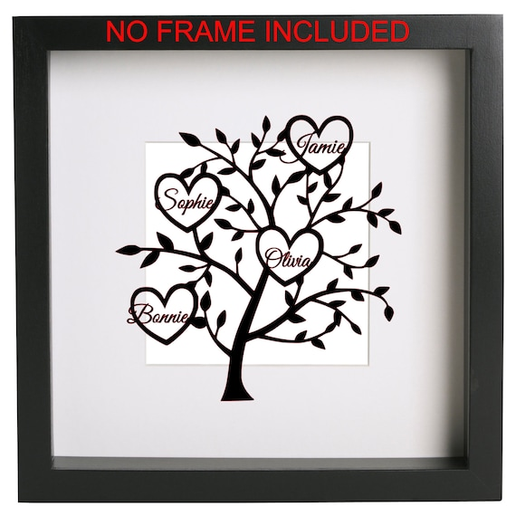 Vinyl Decal//Sticker FOR Ribba Frame Personalised family tree of heart names DIY