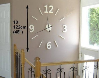122 cm (48  ) blanc en bois de grange, horloge murale géante, chiffres 3D  en bois, 48   wooden wall clock, oversized barnwood wall clock, ef8dac020726