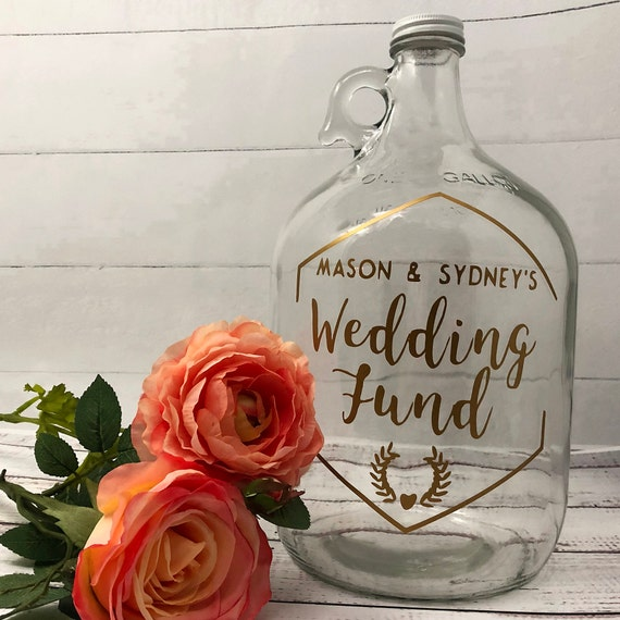 Personalized Wedding Fund Jar Engagement Gift For Couples Etsy