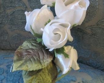 Vintage Millinery White Roses Cluster