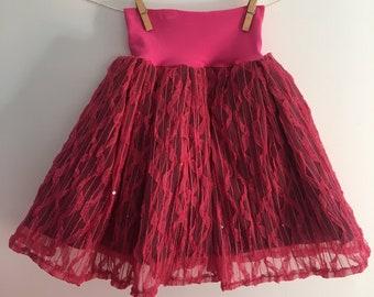 Sequined skirt! Pink princess tulle and sequins burgundy bottom / pink belt