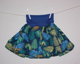 The skirt that turns! Foliage and blue/Panther