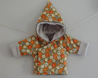 "Reversible wrap-over hooded Pixie ""Retro flowers"""
