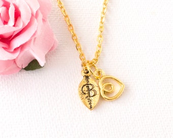 Gold heart necklace, gold heart jewellery, heart jewelry, heart gift, gift for mother, mothers day,Best Friends, sisters necklace, GHEIN0317