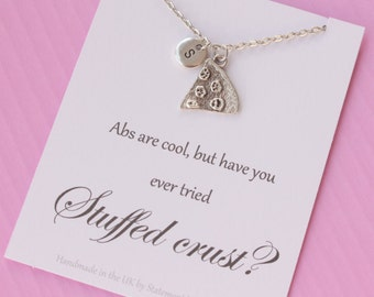 Silver pizza necklace, Message card necklace, inspirational message necklace, , message card necklace, , christmas gift, bridesmaid gift