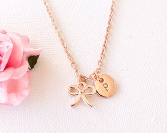 Rose Gold bow necklace, rose gold bow jewellery, bow jewelry, gift for mother, mothers day, Best Friends, sisters necklace, RGBOIN0417