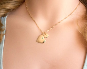 Gold heart necklace, gold heart jewellery, heart jewelry, heart gift, gift for mother, mothers day,Best Friends, sisters necklace, GHEIN0117
